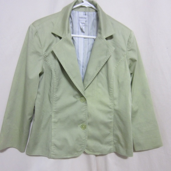 CHICO'S Jackets & Blazers - CHICO'S SZ 2 PALE SEA GREEN LINED JACKET
